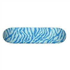 Blue Glitter Print Zebra Stripe Pattern Skate Deck | Skateboards for Girls