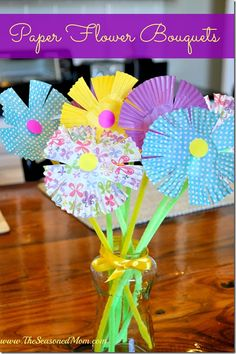Spring Craft for Kids: Paper Flower Bouquets (using paper muffin cups!) www.TheSeasonedMom.com