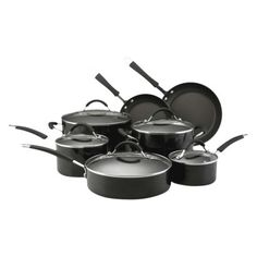 KitchenAid 12 Piece Classic Porcelain Cookware Set - Black