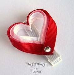 Learn how to make a cute heart ribbon sculpture hair clip with this tutorial. There are 14 pages with pictures to clearly show you how it is created including how to line your clip and seal your ribbon ends. Ribbon Hair Clips, Hair Ribbons, Ribbon Art, Diy Hair Bows, Ribbon Crafts, Ribbon Bows, Ribbon Flower, Diy Ribbon, Grosgrain Ribbon