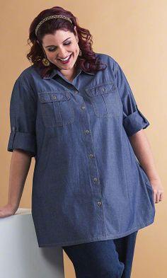 Hooded Denim Bigshirt | Plus Size Shirts and Blouses | Roamans ...