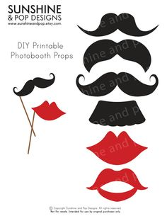 INSTANT DOWNLOAD - DIY Printable Photobooth Props Mustache Lips - Moustache Little Man - decorations party printable photo booth. $2.50, via Etsy.