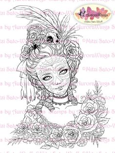 Digital Stamp - Day of the Dead Marie - Skull Paint Marie Antoinette w/ Flowers - Fantasy Line Art for Cards & Crafts by Mitzi Sato-Wiuff