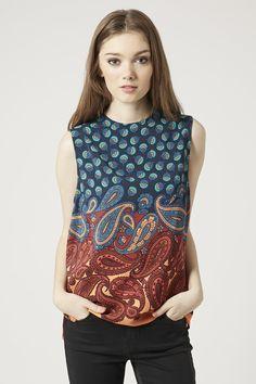 Paisley Border Print Shell Top - Sleeveless Tops - Tops - Clothing- Topshop USA