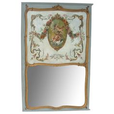 Antique French Blue Painted Trumeau Mirror (398)