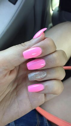 ideas for nails ideas colors pink Ideen für Nägel Ideen Farben pink Simple Acrylic Nails, Square Acrylic Nails, Summer Acrylic Nails, Best Acrylic Nails, Summer Nails, Aycrlic Nails, Swag Nails, Hair And Nails, Fire Nails