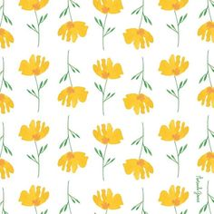 Yellow watercolor floral pattern by Amanda Gomes • Delighted Creative Co.