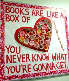 books chocolate valentines day bulletin board