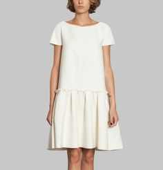 Robe Double Crepe | Cacharel Short Sleeve Dresses, Dresses With Sleeves, Couture, Summer Dresses, Shirts, Doll, Sewing, Baby, Fashion