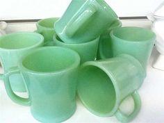 A set of 8 Jadeite coffee mugs