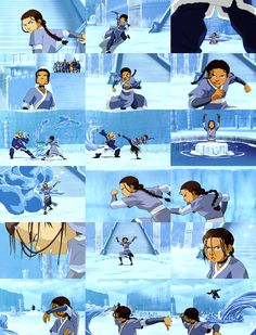 Katara..lets take a moment to think about this scene..this was early in the seasons meaning katara was still learning and we can already see how powerful she really is and persistent. And she only gets more powerful from there on. Katara is amazing