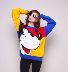 Vintage Mickey Mouse Sweater 80s 90s Colorblock by NullifyAnew, $75.00  WANT! <3