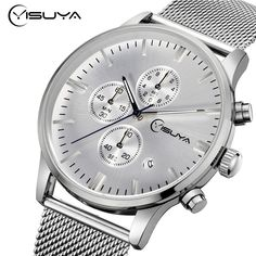 21.38$  Buy now - http://ali38h.shopchina.info/go.php?t=32744731878 - YISUYA Date Day 6 Hands Analog Men Wrist Watch Silver Stainless Steel Mesh Band Strap Quartz Time Chronograph Luxury Fashion 21.38$ #shopstyle