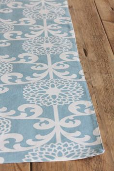 Fabric Table Runner - Wedding Blue with White Blooms - READY TO GO. $35.00, via Etsy.
