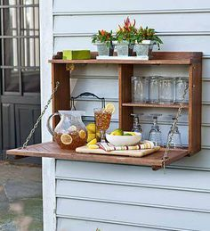 great idea for an outside serving place - from A Gathering of Kindred Souls looking to live off the grid