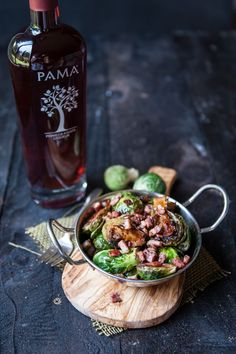 The tangy sweet-tart flavor of PAMA Pomegranate Liqueur is a beautiful contrast to the earthy flavors of Brussels sprouts. Add in the salty crunch of crispy pancetta, and you have a side dish that will quickly become a favorite. Pomegranate Recipes, Elegant Appetizers, Holiday Appetizers, Dinner Party Recipes, Appetizer Recipes, Veggie Dishes, Side Dishes, Sweet Tarts, Kitchens