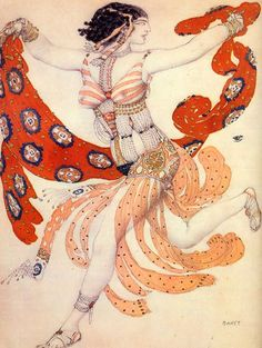 Costume design for the ballet Cleopatra Léon Bakst (Russian, Art Nouveau, Bakst was a Jewish Russian artist who revolutionized theatrical design both in scenery and in costume. Theatre Costumes, Ballet Costumes, Russian Ballet, Russian Art, Ballet Russo, Ida Rubinstein, Art Nouveau, Ivan Bilibin, Sonia Delaunay