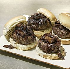 Bacon Burgers with Bacon-Onion-Balsamic Jam: Salty blue cheese, sweet onions, and juicy beef are a classic and addictive combination. Cooking the onions is the most time-consuming part of this recipe, but it's worth it to coax out their deep, earthy flavor.  Via FineCooking