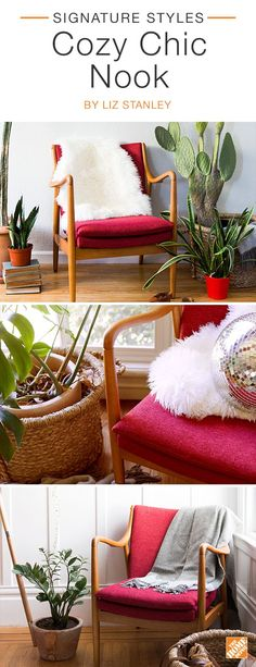 Transformative and modern, the Baxton Studio red upholstered chair complements any space. Create a stylish and relaxing corner by incorporating statement accent pieces like a rich New Zealand sheepskin rug, or a hyacinth straw basket and a soft Australian wool throw. We partnered with blogger Liz Stanley to create this inviting space. Click to explore her selected products.