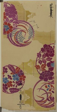 Japanese Textile Design These beautiful prints are salesman's samples of kimono cloth designs. Salespeople would bring these pieces to kimono makers in order to showcase the different patterns available. With its origins as Japanese Textiles, Japanese Patterns, Japanese Fabric, Japanese Prints, Japanese Art, Japanese Kimono, Textile Patterns, Textile Prints, Textile Design