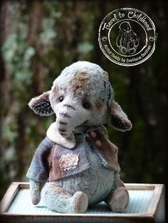 """Teddy Elephant Vintage Bo By Svetlana Bordner - Collectible Teddy Bear Friends - Teddy Elephant.Please, meet my happy Teddy Elephant """"Vintage Boy"""", Teddy made of hand dyed German viscose gray-green color. Teddy was created using my new pattern and has very interesting character. Teddy Elephant made in vintage style whi..."""
