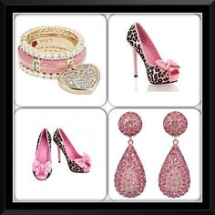 Add in those perfect pink leopard accessories and you are #promperfect #perfection #prom #shoes #earrings #pink #leopard #instacollage