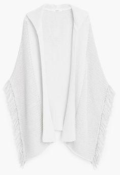 kimono en maille blanc à franges, soldes mango