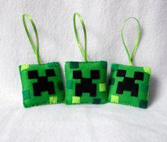 ONE Minecraft Creeper Christmas Ornament by michellecoffee on Etsy Felt Christmas Ornaments, Christmas Sweaters, Christmas Crafts, Christmas Decorations, Christmas Ideas, Felt Decorations, Diy Ornaments, Xmas, Christmas Tree