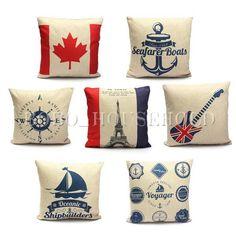 45*45cm Stripe Nautical Decorative Throw Sofa Pillow Cases Cushion Cover Square