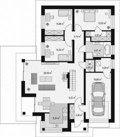 Casa de vis fara etaj cu garaj - proiect detaliat cu fotografii