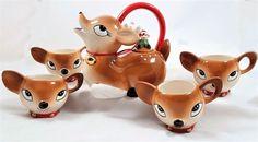 Vintage-Christmas DEER Teapot and 4 Cups Ceramic So Cute Tabletop Display New