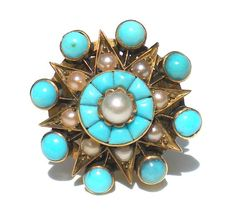 Victorian Turquoise and Pearl Ring Star Design on 15k Gold