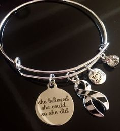 Zebra Ribbon Bracelet / She Believed / Ehlers-Danlos syndrome, Rare Disease, Endocrine Cancer, Invisible Illness / Spoonie Zebra by RockYourCauseJewelry on Etsy