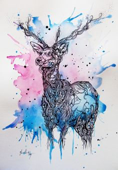 Deer Splash illustration / watercolor - lots of detail