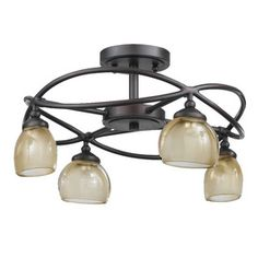 Triarch International 15 1 2 In Bronze Semi Flush Mount Light