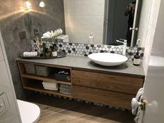Floating Messmate timber vanity Double Vanity Tops, Wormy Chestnut, Timber Vanity, Vanity Shelves, Bathroom Layout, Bathroom Ideas, Hardwood Furniture, Floating Vanity, Wood Vanity