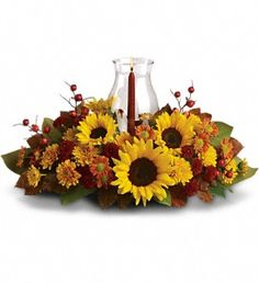 Sunflower Centerpiece; Brighten your holiday table with this delightful sunny centerpiece.