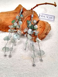 Handmade branch earrings with aventurine, amazonite, florite stone & crystal beads. 9.25 silver filled earwires. Crystal Beads, Crystals, Bugs, Christmas Ornaments, Stone, Holiday Decor, Unique Jewelry, Handmade Gifts, Earrings