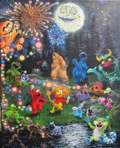 We Know how 2 party! Tribute to Jim Henson, 2016 by wickedspaceant on DeviantArt Jim Henson, Paintings, Deviantart, Canvas, Party, Tela, Fiesta Party, Painting Art, Painting