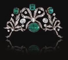 RoyalDish - Tiara - page 74.  This emerald and diamond tiara, c. 1870, was formerly the property of a Belgian Princess. There are octagonal, step-cut, and hexoganal emeralds and diamonds.