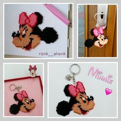 Minnie Mouse keyring hama mini beads by renk__ahenk