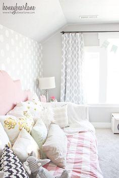 *polka dot wall for lulu room* Pink and Gray Little Girl's Room