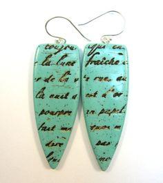 Love Letter Polymer Clay Earrings. $24.00, via Etsy.