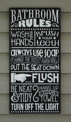 Wood sign 'Bathroom Rules' x bathroom wall art bathroom wall plaque bathroom rules wood sign wash brush floss flush sign bath rules Bathroom Rules, Bathroom Wall Art, Downstairs Bathroom, Bathroom Ideas, Diy Signs, Wall Signs, Wooden Diy, Wooden Signs, Wash Brush