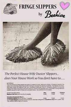 Items similar to PDF Vintage Womens Ladies Knitting Pattern, Fringe Bed Slippers Novelty Moppet Duster Children Girl Scuffs Retro War Time Boudoir on Etsy Vintage Crochet Patterns, Vintage Knitting, Knitting Patterns, Crochet Slipper Pattern, Crochet Slippers, Easy Knitting, Knitting Needles, Moss Stitch, Yarn Brands