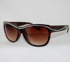 """Enchanting Jewelry Creations - """"Chain link Tortoise Shell Sunglasses"""". Real metal embedded chain compliment a jean or leather jacket with zippers! $15.00 (http://stores.enchantingjewelrycreations.com/chain-link-tortoise-shell-sunglasses/)"""