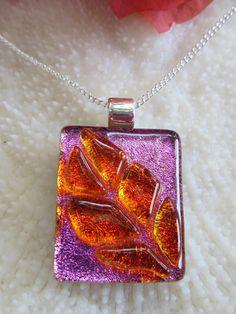 Pink and orange dichroic fused lass Leaf Pendant