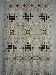 Hardanger embroidery with beading.