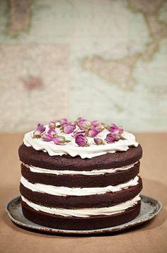 Unfrosted chocolate wedding cake