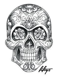 Sugar Skull Sketch 5 Pack of Stickers